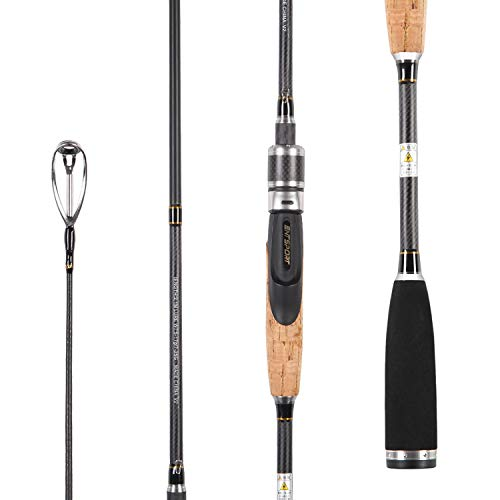 Entsport E Series - Rattlesnake 2 Piece Graphite Spinning Rod with 3 Top Pieces for All Species