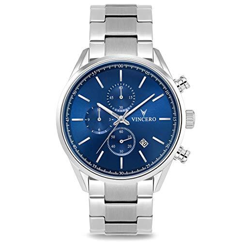 Vincero Luxury Chrono S Herren Armbanduhr - 40mm Chronograph Uhr Stahlband - Japanisches Quarz Uhrwerk (Blau Stahl)