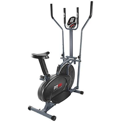 FITFIU Fitness BELI-120 - Vélo elliptique avec selle réglable, mode multifonctionnel elliptique et stationnaire, disque d'inertie de 5kg, écran LCD et moniteur de fréquence cardiaque, Fitness bike