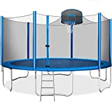 Merax 15 FT Trampoline with Safety Enclosure Net, Basketball Hoop and Ladder - 2020 Upgraded – Kids Basketball Trampoline (Blue)
