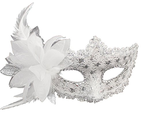 Coxeer Masquerade Mask for Women Mardi Gras Mask with Flower (White)