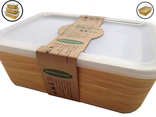 Tuper de Bambu - 3 Tupers de Fibra de Bambú Ecologicos - Material Organico, Reciclable,...