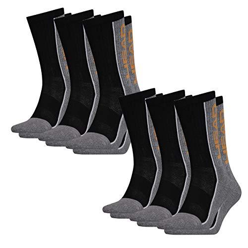 Head Unisex Performance Crew Confezione da 6 pezzi 35-38 39-42 43-46 grigio/nero (235). 39-42