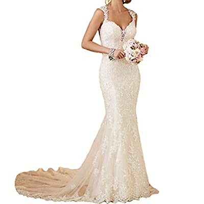 Wedding Dress,Lace,Mermaid,Beach,Ivory Color,Sheath,Long,Open Back,Blackless,Tulle Gown with Train,Sweetheart Neck,Bling Lace Applique,Vintage Style,Plus Size Wedding Gowns ♥SIZE CHOOSE: Plus size dress 2-24W and custom size are available. (Please ch...