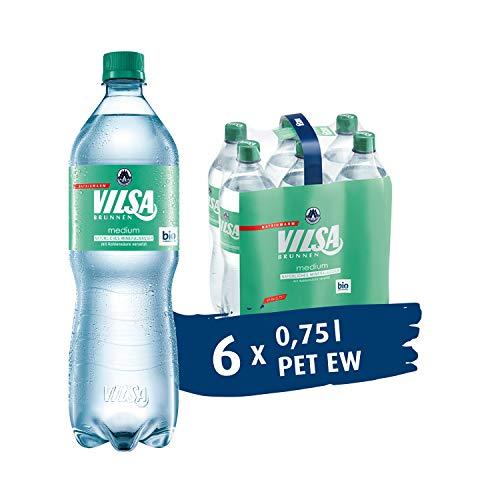 VILSA Mineralwasser medium, 6er Pack Mineralwasser mit Kohlensäure, natriumarm, in Einweg-Flaschen (6 x 0,75 l PET)