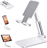 """ZOBAK Adjustable cell phone stand for desk compatible with all 4-10.5"""" smartphones, tablets and e-readers, iPhone 11 Max Pro/11 Max/11/Xs Max/Xs/XR/X/8 7 6 6s Plus 5 5s SE, Galaxy S9/S9 Plus/S8/S7/S6/Note 9/Note 8, LG, Huawei, LG, IPAD mini, Samsung ..."""