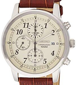 SEIKO Men's SNDC31 Classic Stainless Steel Chronograph Watch with Brown Leather Band 25