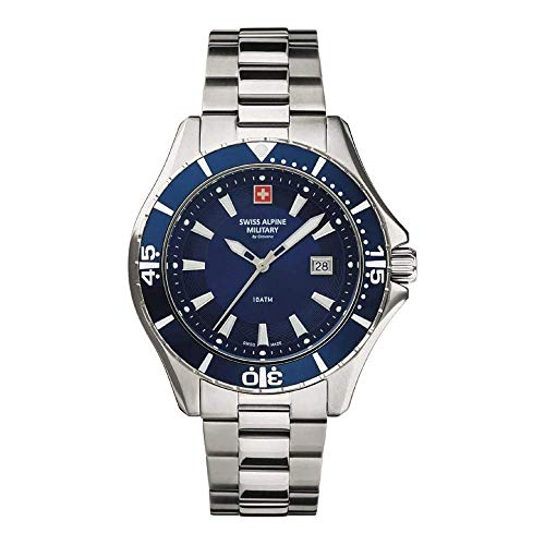 Swiss Alpine Military by Grovana Herren Analog Quarz Uhr mit Edelstahl Armband 7040.1135SAM