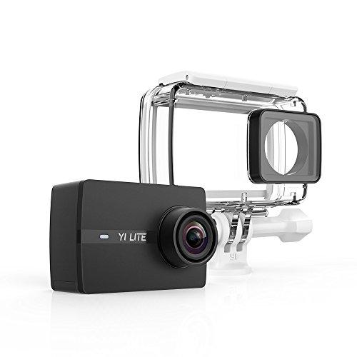 Yi Lite - Fotocamera di azione, 4K/15 fps, 1.080p/60 fps, con obiettivo ultra grandangolare, WiFi e Bluetooth, custodia impermeabile, colore: Nero