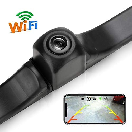 WiFi License Plate Backup Camera, 720P HD Car Rear View Reverse Camera Work with Most Smart Devices, IP68 Waterproof, IOS13 OR Above NOT Compatible