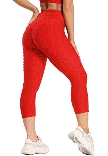 STARBILD Pantaloncini Sportivi Donna Capri Push up Sexy Nido d'Ape 3D Leggins 3/4 Vita Alta Ragazze Calzamaglia Compressione Sports Yoga Fitness Palestra Jogging, A-Rosso S