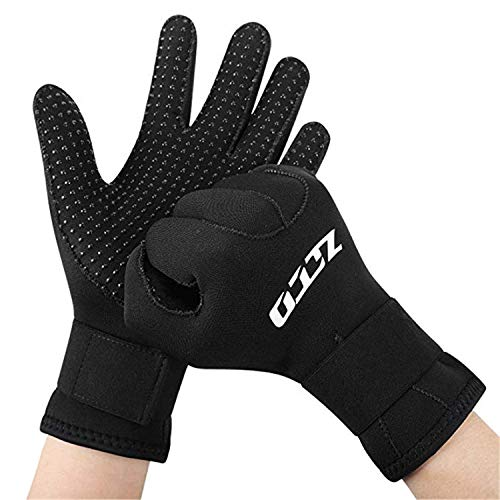 Neoprene Diving Gloves 3mm, Double-Layer Thermal Wetsuit Gloves, with Elastic Wrist and Skid...