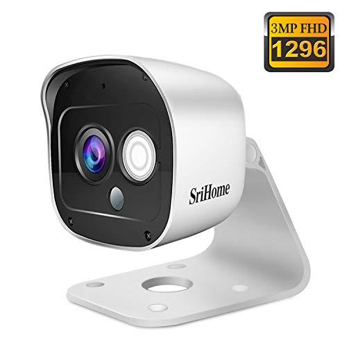 Telecamera di Sorveglianza WiFi SriHome SH029, Videocamera 1296P Wireless Interno e Esterno, Telecamera di Sicurezza IP66 Impermeabile con Visione Notturna Sensore di Movimento Audio Bidirezionale