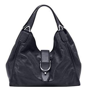 Gucci Stirrup Black Washed Soft Calf Leather Medium 100 Hobo Handbag 24