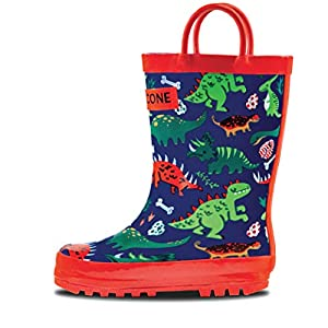 LONECONE Rain Boots with Easy-On Handles in Fun Patterns for Toddlers and Kids, Puddle-a-Saurus Dinosaur, 4 Toddler