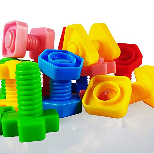 Jumbo Nuts and Bolts Set with Toy Storage and Book | Montessori Toddler Rainbow Matching Game Activities | Fine Motor Skills Autism Educational Toys for Baby, 1, 2, 3 Year Old Boy and Girl | 40pcs …