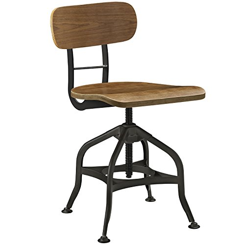 Modway Mark Rustic Modern Farmhouse Steel Metal Wood Adjustable Dining Chair in Brown