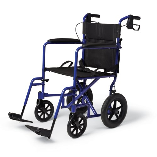 Medline MDS808210ABE Aluminum Transport Chair with 12' Wheels, Blue