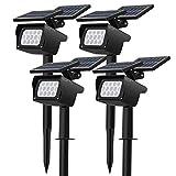 CLY 4 Piezas focos LED solares para jardn, focos LED para lmparas solares para csped con 3 niveles de brillo, proyector solar resistente al agua para rboles, arbustos, paredes, arbustos