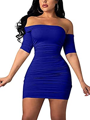 Material:90% polyester and 10% spandex,super stretchy,soft and comfortable fabric Suitable for festival,cocktail,evening party,club,wedding,prom,casual,daily,shopping,birthday Off the shoulder,backless,short sleeve,high waisted,adjustable ruched,mini...