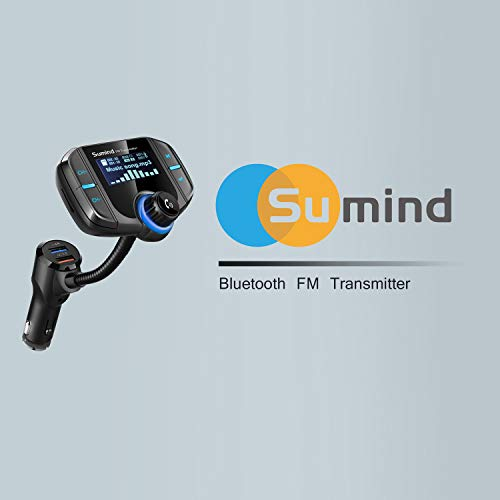 Product Image 6: (Upgraded Version) Bluetooth FM Transmitter, Sumind Wireless Radio Adapter Hands-Free Car Kit with 1.7 Inch Display, QC3.0 and Smart 2.4A Dual USB Ports, AUX Input/Output, TF Card Mp3 Player