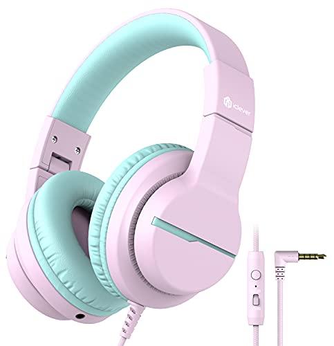 iClever HS19 Casque Audio Enfants, Ecouteurs Stéréo HD avec Microphone pour Enfants, Limiteur de Volume 85/94dB, Fonction de Partage, Ecouteurs Pliables pour l'Ecole/Ordinateur/Kindle