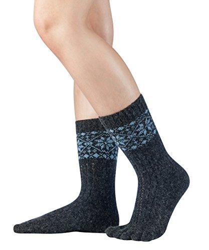 Knitido Naturals Merino e Cachemere | Calze calde in lana con dita separate, Misura:39-42, Colore:antracite/azzurro (102)