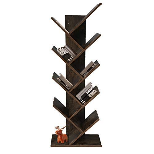 WoodPod Tree Bookshelf, Wooden 8-Tier Floor Standing Bookcase for...
