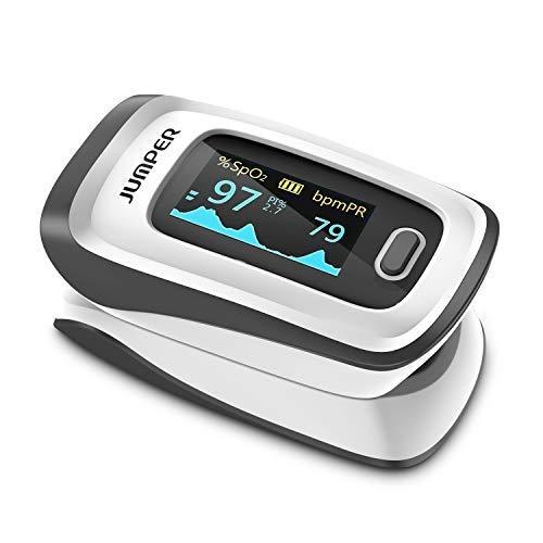 JUMPER Oxímetro de Pulso con Pantalla Grande Para Medir SpO2, índice de Perfusión y Frecuencia de Pulso en el Dedo, con Estuche, Baterías y Cordón (Negro)