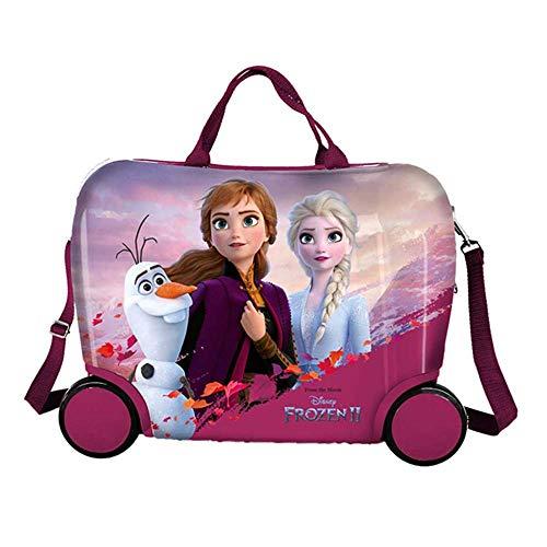 Trolley Frozen Elsa Anna Olaf Disney da Viaggio 4 Ruote CAVALCABILE TRAINABILE CM. 45X34X22 in ABS -...