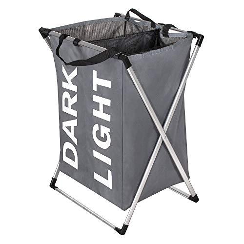 SPRINGOS Faltbare Wäschekorb 2 Fächer   120 L   64 x 39 cm   Grau   mit Rahmen   für Badezimmer, Schlafzimmer   Materialkorb