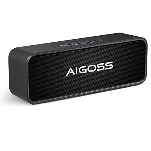 Aigoss Bluetooth Lautsprecher, Tragbarer Wireless V5.0 Duale Bass-Treiber Kabelloser Lautsprecher mit Eingebautem Stoßfest Mikrofon, FM-Radio und TF Card Slot Schwarz
