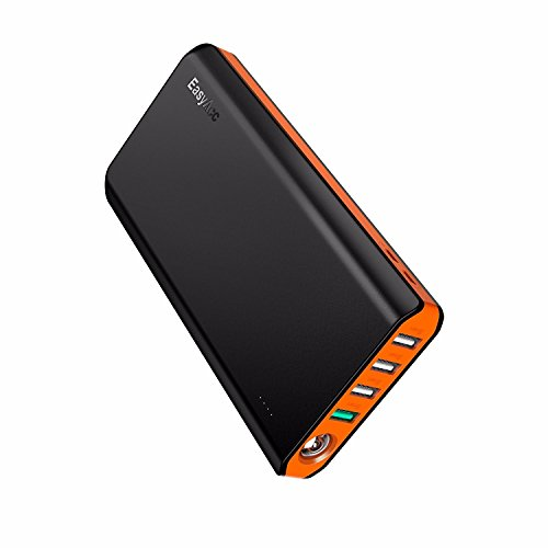 EasyAcc 20000mAh Power Bank QC 3.0 Quick Charge Portable Battery Bank with Dual USB Inputs and Four Outputs, Flashlight for Smartphones, Nintendo Switch and More - Black & Orange