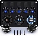 Panneau de commutateur à bascule à 5 gangs avec prise de fente USB double 5V 4.2A + allume-cigare + voltmètre pour bateau marin voiture véhicules RV camion 12-24V LED bleu étanche (Bleu)
