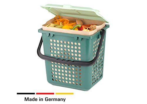 AirBox® Komposteimer inkl. 7l BIOMAT® kompostierbare Papierbeutel (80 Stk.)