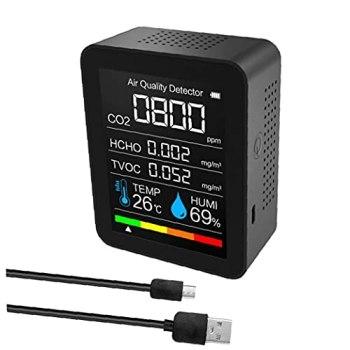 Moniteur de la qualité de l'air, 5 en 1 CO2 Mètre, outil de détection de CO2, détecteur de capteur professionnel noir mesure instantanément les niveaux de qualité de l'air. PM 2.5 Pollution