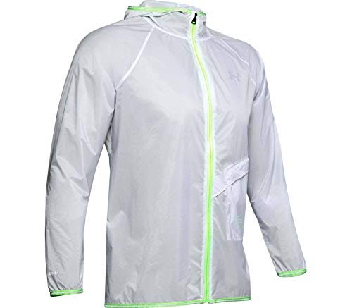 Under Armour Men's Qualifier Storm Run Packable Graphic Jacket, Halo Gray/Lime Light/Reflective (014), SM