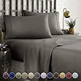 HC COLLECTION Hotel Luxury Comfort Bed Sheets Set, 1800 Series Bedding Set, Deep Pockets, Wrinkle & Fade Resistant, Hypoallergenic Sheet & Pillow Case Set(King, Grey)