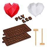 Silicone Molds Set 3D Love Heart Diamond Shaped Chocolate Molds DIY Tools Bakeware Cake Mold Handmade Baking Tray Non-stick Moulds Baking Pan for Mousse Jelly Dessert with Mini Wooden Hammer 5-Pack