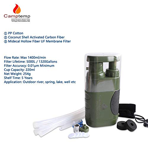 Product Image 5: Portable Water Purifier Pump with Replaceable Carbon Water Filter,Water Filter Purifier Hand Operat Pump Purification System for Backpacking Survival Camping Hiking Emergency Disaster for Home&Outdoor