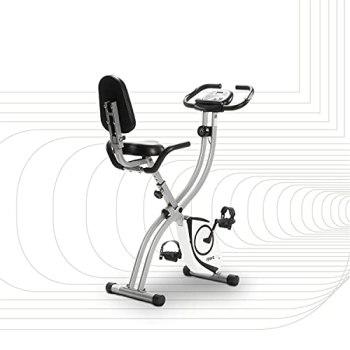 SportPlus vélo d'appartement pliable avec dossier - 8 niveaux de résistance (freinage magnétique silencieux), avec support tablette, capteur de fréquence cardiaque, SP-HT-1003