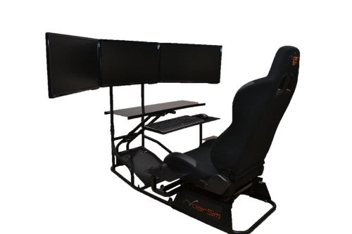 Volair Sim Universal Flight or Racing Simulation Cockpit Chassis with Triple Monitor Mounts 2
