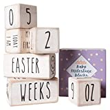 Baby Monthly Milestone Blocks - 6 Blocks Safe for Baby, The Most Complete Set for Pregnancy, Infant and Toddler Years, Baby Photography Props for Social Media, Rustic Baby Nursery Decor (White)