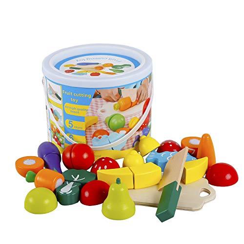 omyzam Legno Secchio Taglio Frutta e Verdura Giocattolo della Cucina Idee Regalo per Bambini Giocattolo in Anticipo Frutta da Tagliare Giocattolo Giochi in Legno 2 Anni Accessori Cucina Bambini