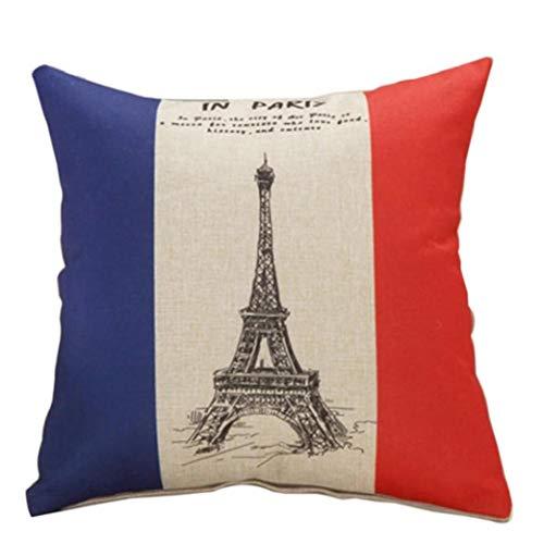 AMOYER Cojín Almohadilla De Tiro del Caso Torre Eiffel Imprimir País Decorativo Funda De Almohada para El Sofá Dormitorio del Coche De 18 X 18 Pulgadas