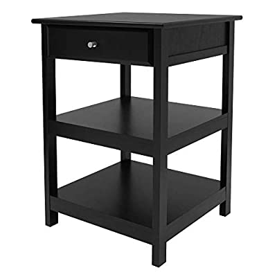 """Composite Wood Overall size is 20.8""""W x 20.2""""D x 30.7""""H Shelf dimensions: 18.8""""W x 18.5""""D, both with a Clearance of 9""""H Inside drawer dimensions are 14.8""""W x 15""""D x 2.75""""H Made of composite wood in walnut Finish"""
