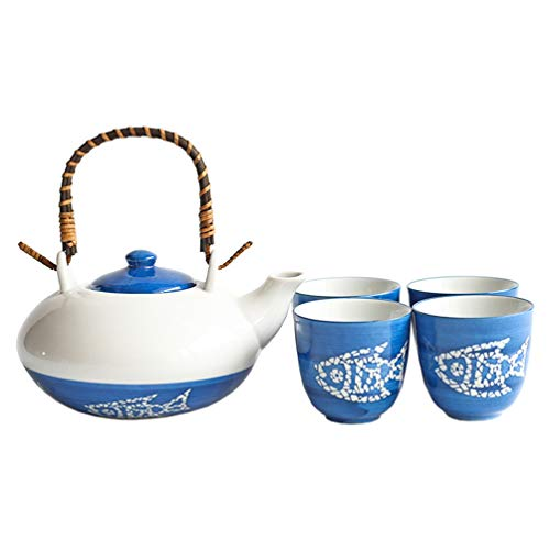 Conjunto de bule de cerâmica hemoton estilo japonês para chá de peixe com alça resistente ao calor, conjunto de jarro de água com 4 peças para casa e hotel