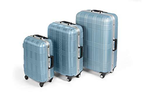 MasterGear Hartschalenkoffer mit Aluminium Rahmen Set 3 teilig in blau | 3er Kofferset | Koffer mit 4 Rollen (360 Grad) | Trolley, Reisekoffer, ABS, TSA, S (Handgepäck Maße)-M-L, stapelbar