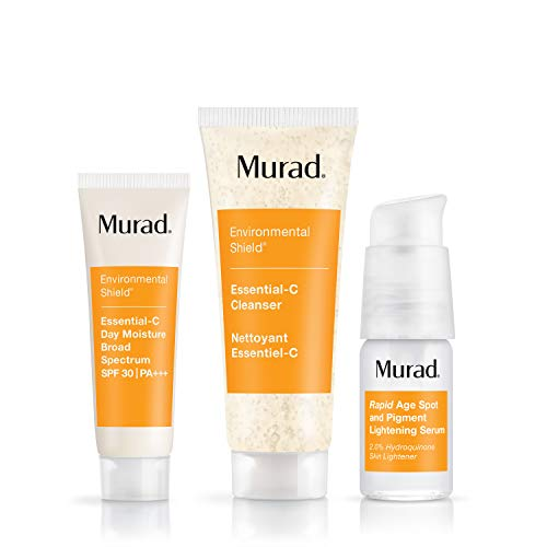 Murad Start Bright Here Kit - Rapid Lightening Skin Care Kit - Everyday Skin Care Pack with Trial Size Essential-C Cleanser, Essential-C Day Moisture and Rapid Age Spot and Pigment Lightening Serum