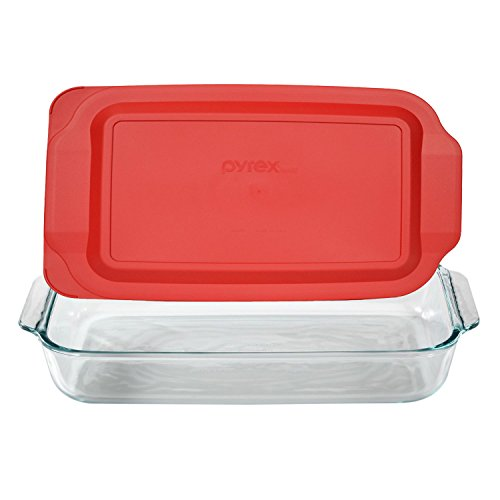 3 Quart Glass Baking Dish with Red Plastic Lid